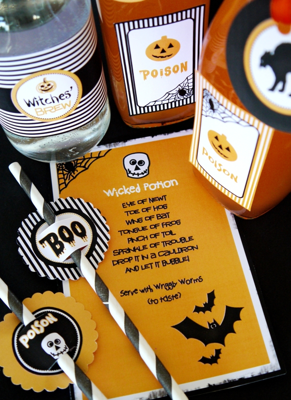 DIY Halloween Potion & Spooky Drinks Station - BirdsParty.com