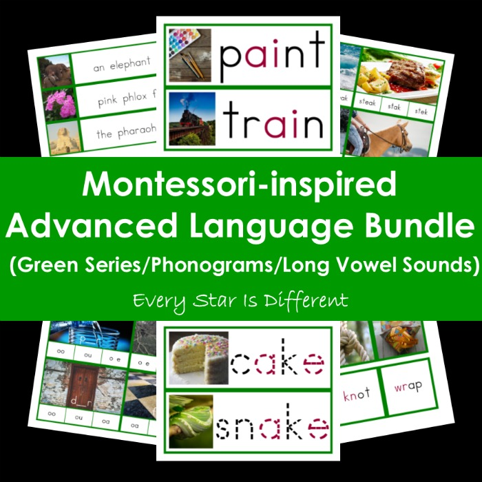 Montessori-inspired Advanced Language Bundle (Green Series/Long Vowel Sounds/Phonograms)