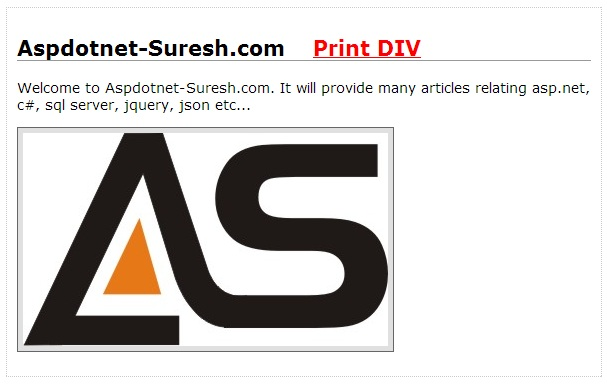 jQuery Print DIV Content with CSS using jQuery Print Plugin in