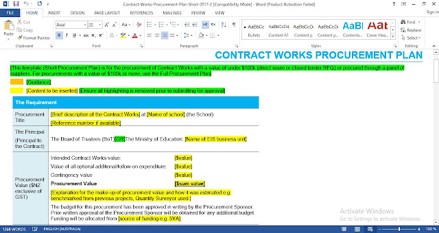 Download Contract Works Procurement Plan Short Template
