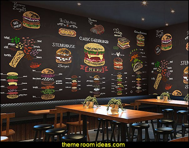 blackboard, dining, large wall, fruit, coffee, tea shop, coffee shop wallpaper mural