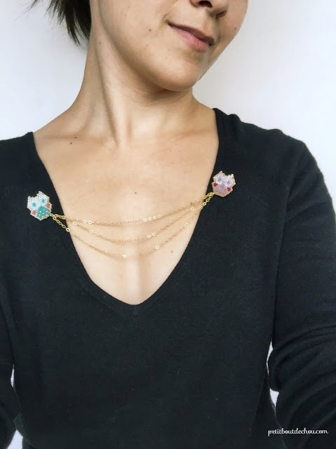 chain collar brooch with miyuki beaded owls