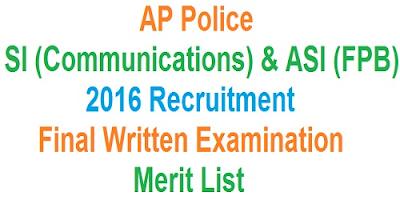 AP Police SI & ASI (FPB) Merit List 2016