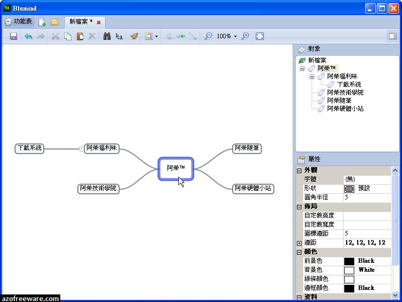 Blumind 3.1 免安裝中文版 - 輕巧可攜的心智圖軟體 - 免費軟體下載
