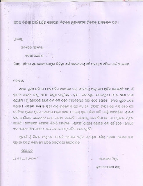 letter to chief minister sample, application to cm, application to chief minister, odia application to CM