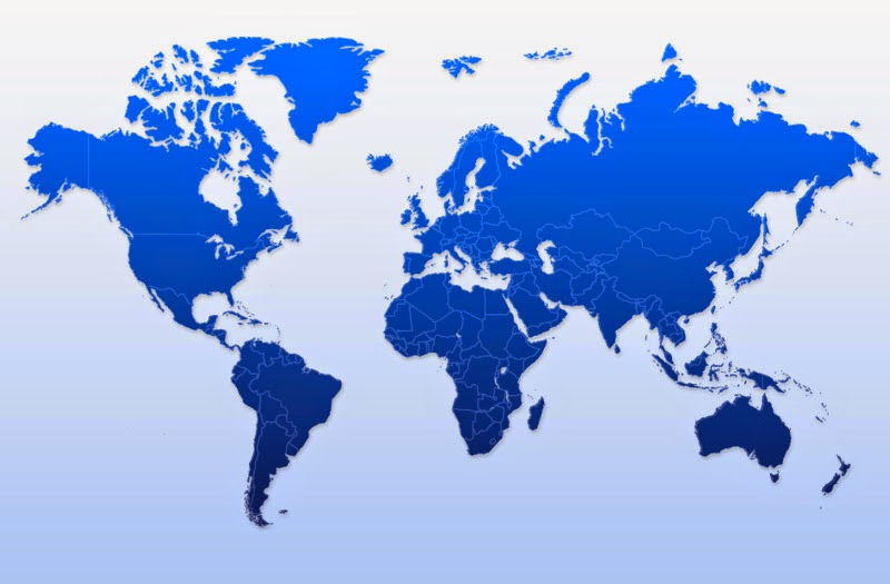 map of the world with land masses in dark blue and very faint lines for national borders