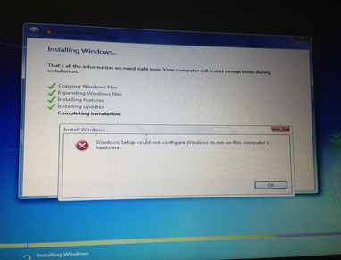 windows could not complete the installation restart the installation""