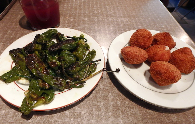 green chili peppers and cheese croquettes