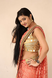 Akshitha Navel Show Pics at Prasnistha Movie First Look Launch Press Meet