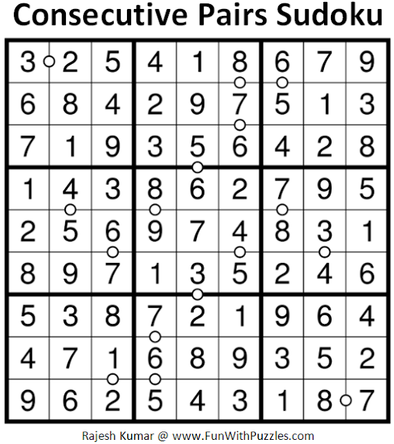 Consecutive Pairs Sudoku (Daily Sudoku League #178) Answer