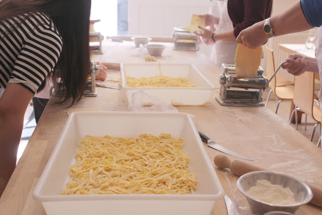 making pasta at Caldessi