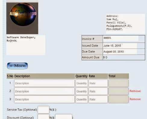 Free online invoice generator HTML Tools