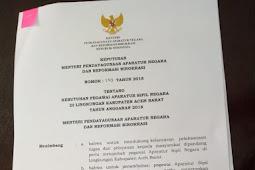 Daftar Formasi CPNS 2018 Kab/Kota Provinsi Aceh
