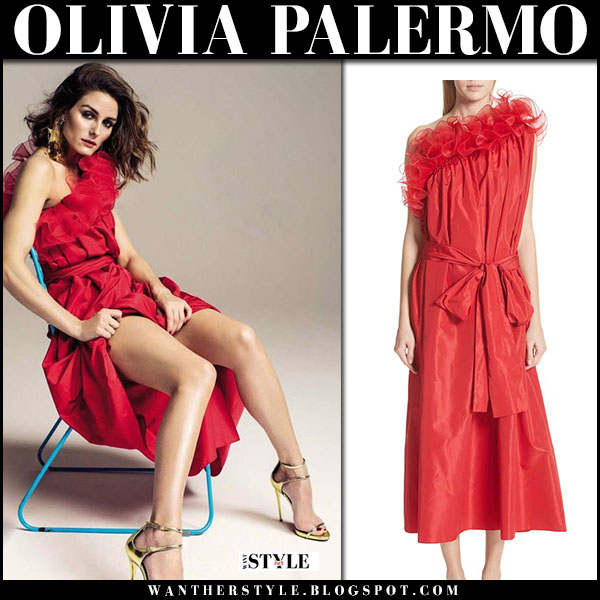 Olivia Palermo in red ruffle one shoulder dress stella mccartney hola fashion magazine march 2018
