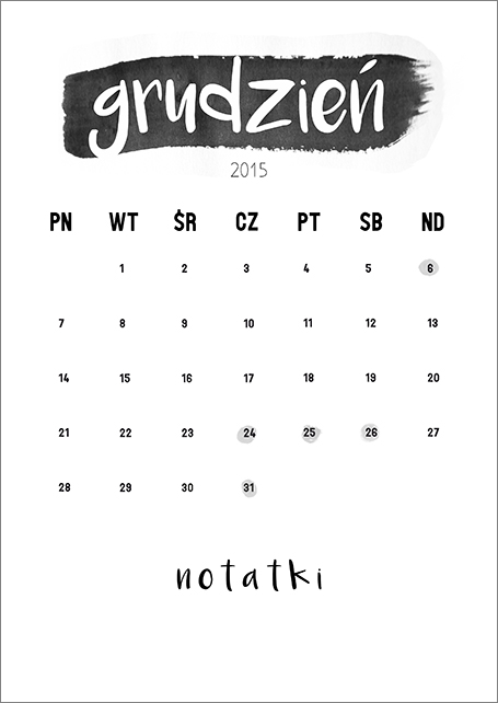 darmowy kalendarz grudzień 2015