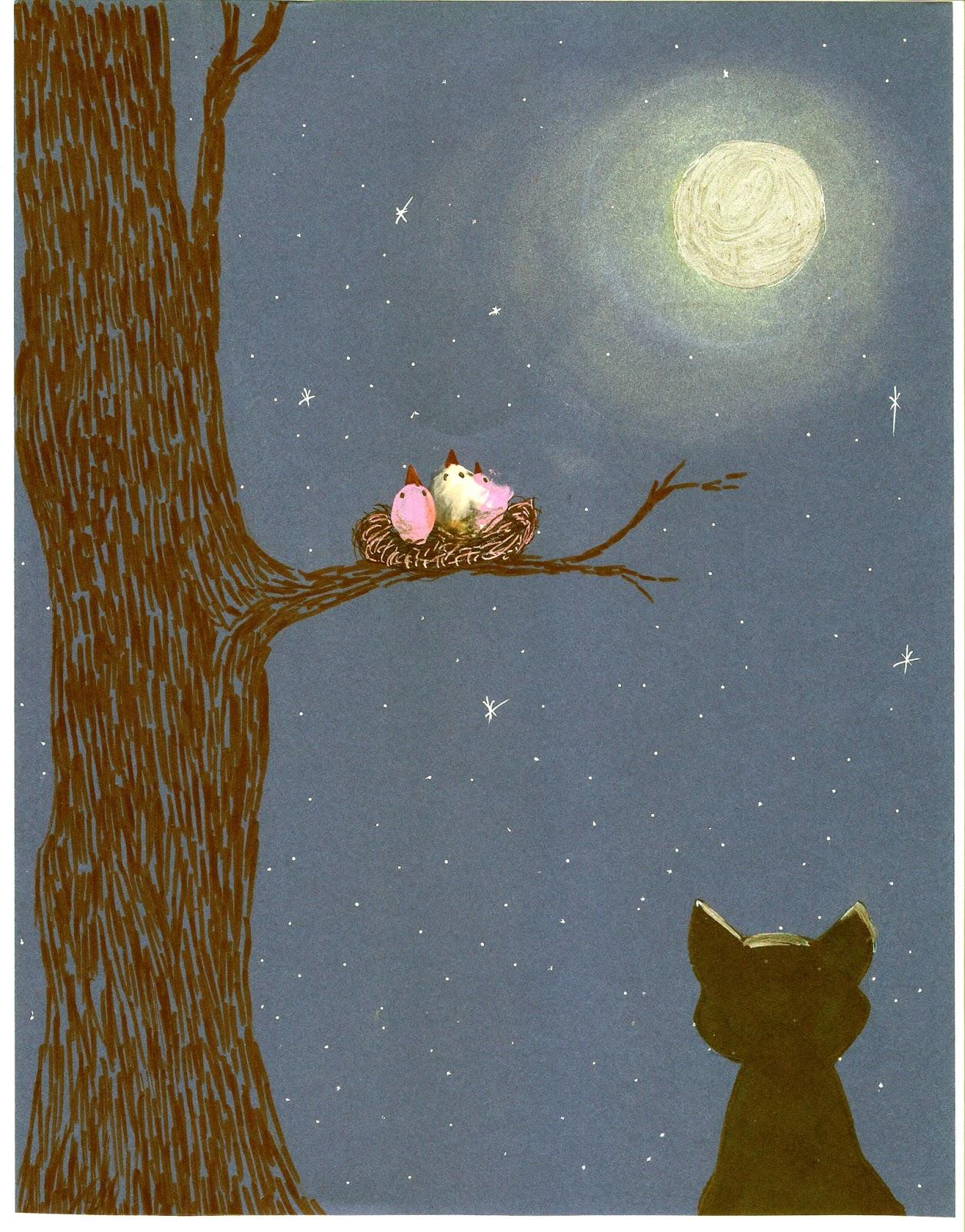 Wiśnia W Przedszkolu Idzie Niebo Ciemną Nocą