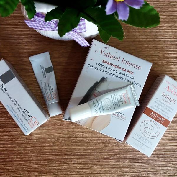 Produtos usados na pele durante o pré-peeling: Ysthéal intense e Active C10