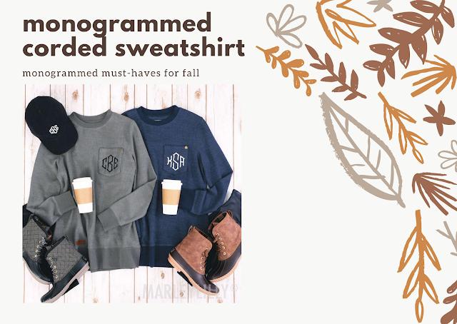 monogrammed corded sweatshirt