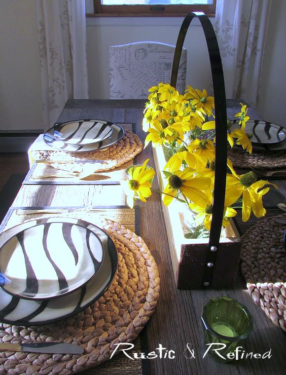 Breakfast table setting with animal print dishes