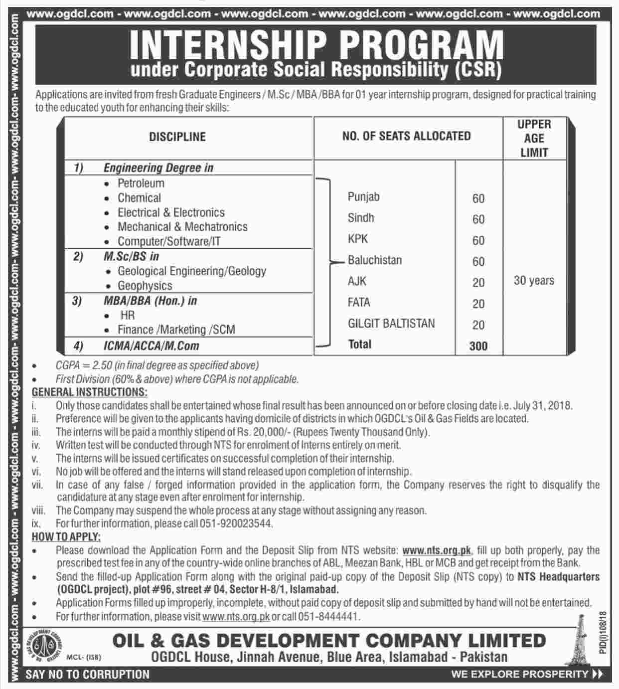 OGDCL Jobs July 2018 NTS Application Form Download