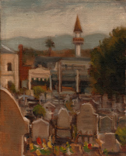 Oil painting of gravestones, with buildings including a minaret in the middle ground, and a mountain range in the background.