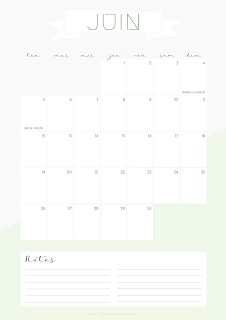bullet journal juin calendrier imprimer printable