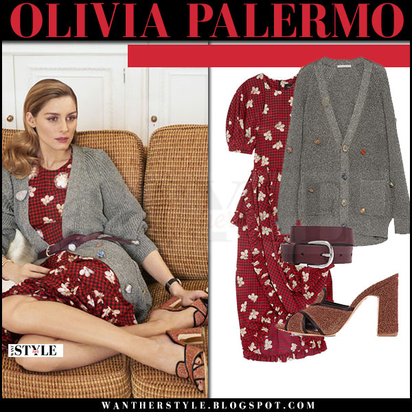 Olivia Palermo in red floral dress, grey knit cardigan what she wore april 2017 editorial