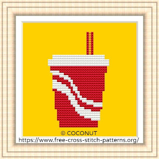 FAST FOOD DRINK, FREE AND EASY PRINTABLE CROSS STITCH PATTERN
