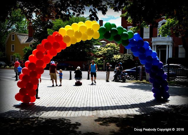 North Shore, Pride, Salem Common, Salem, Massachusetts, balloons, rainbow, shadow