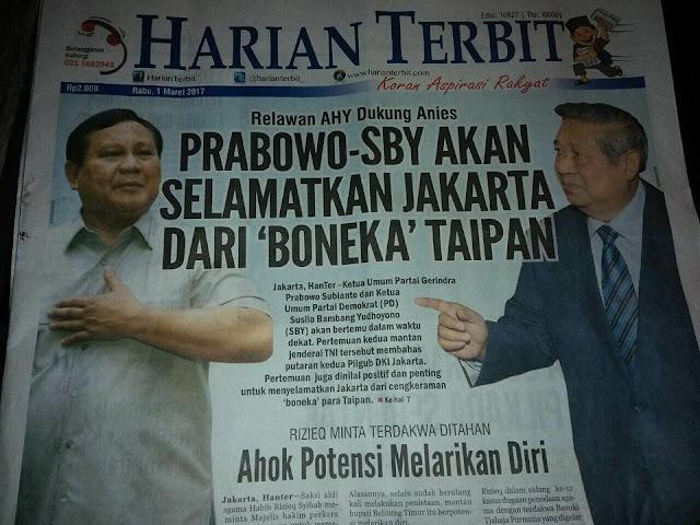 Relawan AHY Dukung Anies, Prabowo-SBY akan Selamatkan Jakarta dari `Boneka` Taipan