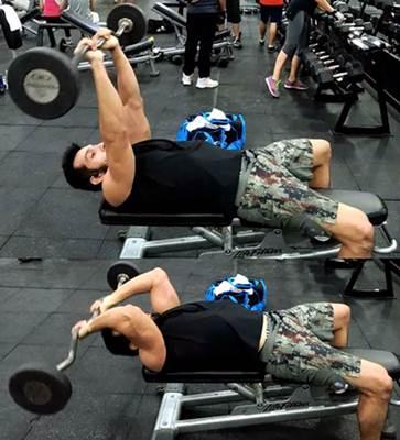 Flexión de tríceps con barra acostado en banco