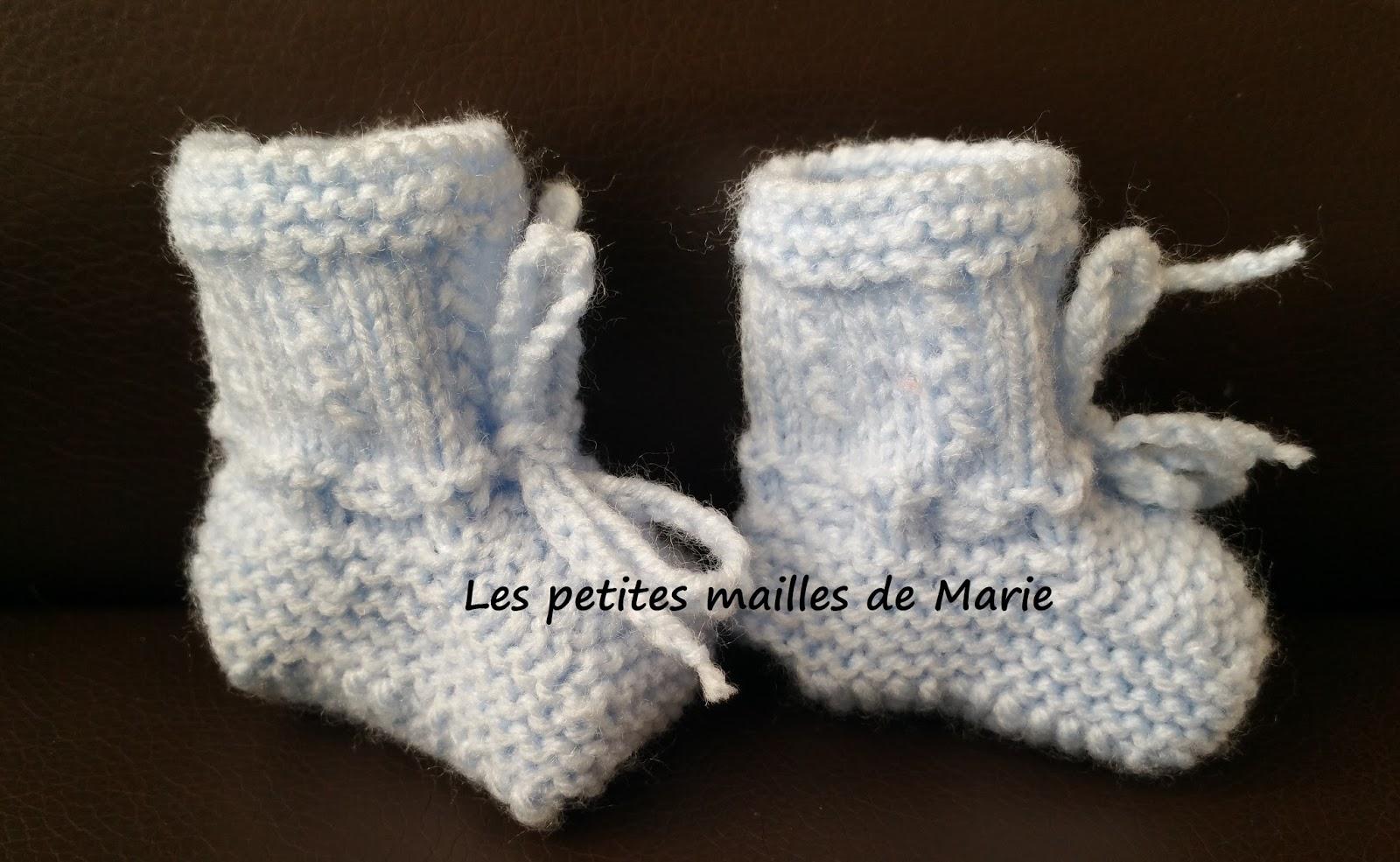 Les petites mailles de marie chaussons pour b b - 3 petites mailles ...