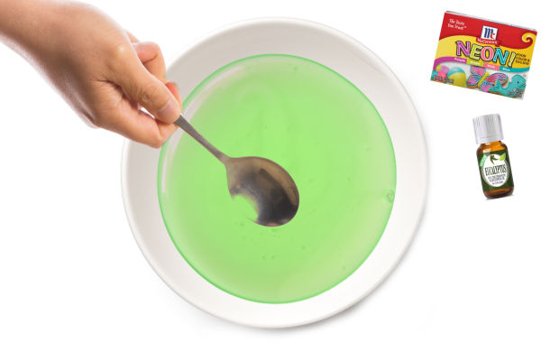 "Sick day ""NO-SNOT SLIME"" recipe for kids. This slime is great for when kids are sick, as it contains eucalyptus.  My kids also LOVE that the slime looks like snotty boogers haha.  #boogerslime #snotslime #nosnotslime #snotslimerecipe #sickdayslime #boogerslimerecipe #sickday #sickkids #sickkidstips #sickdayactivitiesforkids #slimerecipe #slime #slimerecipeeasy #slimemaking"