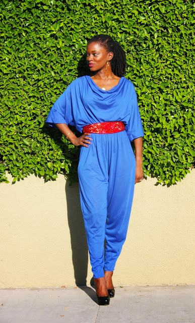 how to wear vintage blue jumpsuit