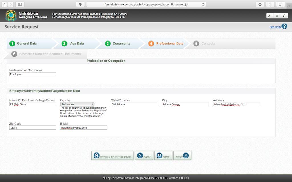 Pengalaman Mengurus Visa Brazil di Jakarta - Form Aplikasi Online Pekerjaan