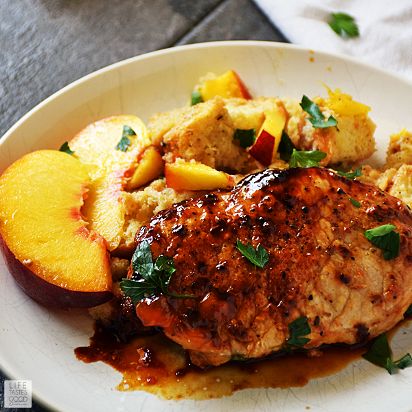 Peach Glazed Pork Chops and Stuffing