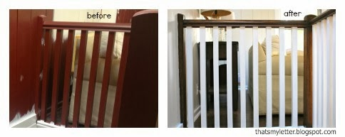 painted railing before and stained railing after