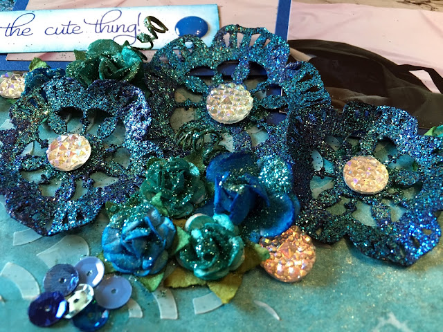 scrapbooking, scrapbook, custom, mixed media, ocean, beach, mermaid, sea, embossing, distress ink, crinkle ribbon, glitter, druzy, stamping, stenciling
