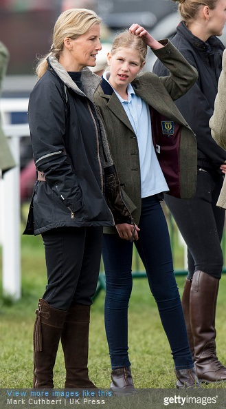 Sophie, Countess of Wessex and Lady Louise Windsor attend the Royal Windsor Horse show in the private grounds of Windsor Castle on May 15, 2015 in Windsor, England.