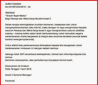 surat edaran perintah sholat oleh GM pertamina