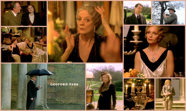 Movie collage of Gosford park starring Dame Maggie Smith, Kristisn Scott Thomas, Charles Dance, Michael Gambon, Clive Owen, Stephen Fry, Richard E Grant and Ryan Philippe. Period murder muystery drama set in the 1930s. Statley home and British aristocracy setting great form anglophiles.