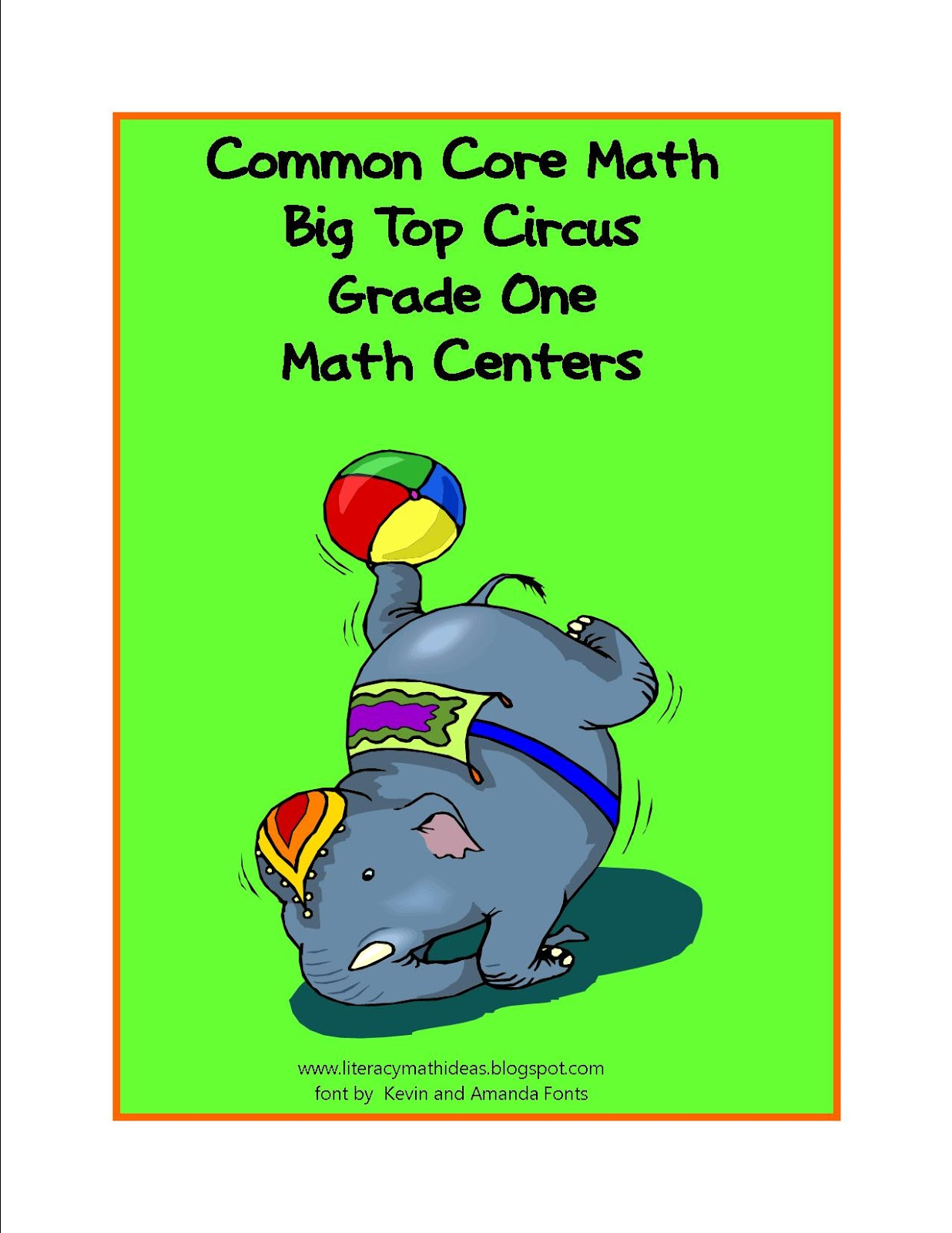 Simply Centers Common Core Standards Math Big Top Circus