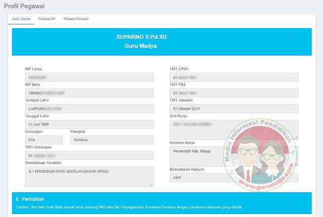 Tampilan Cek NIP PNS Pada laman baru BKN