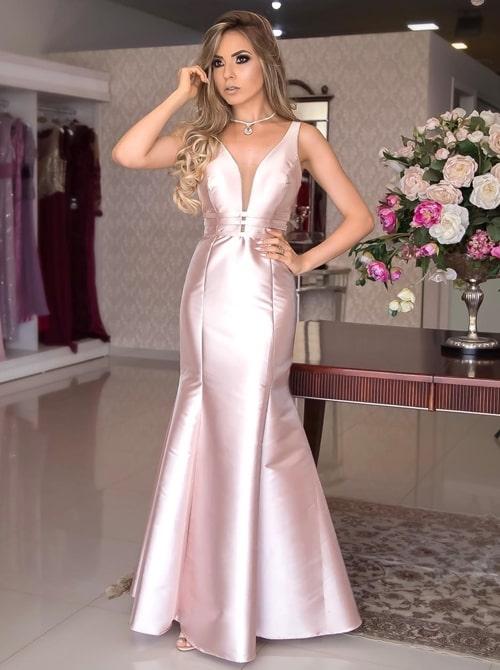 vestido longo rosa madrinha noite