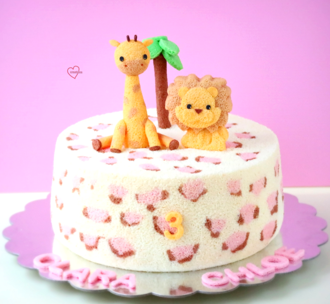 Loving Creations for You Safari Pink Leopard Prints Chiffon Cake