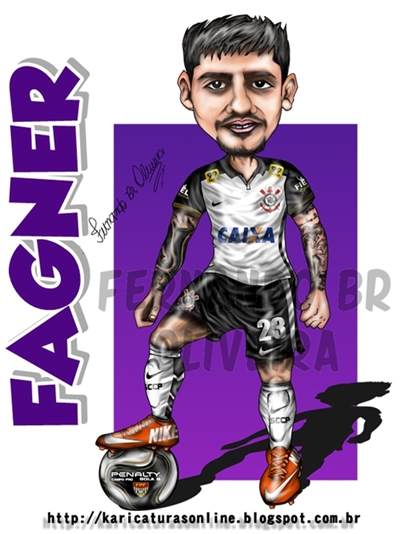 Caricatura do jogador Fagner do Corinthians 2016
