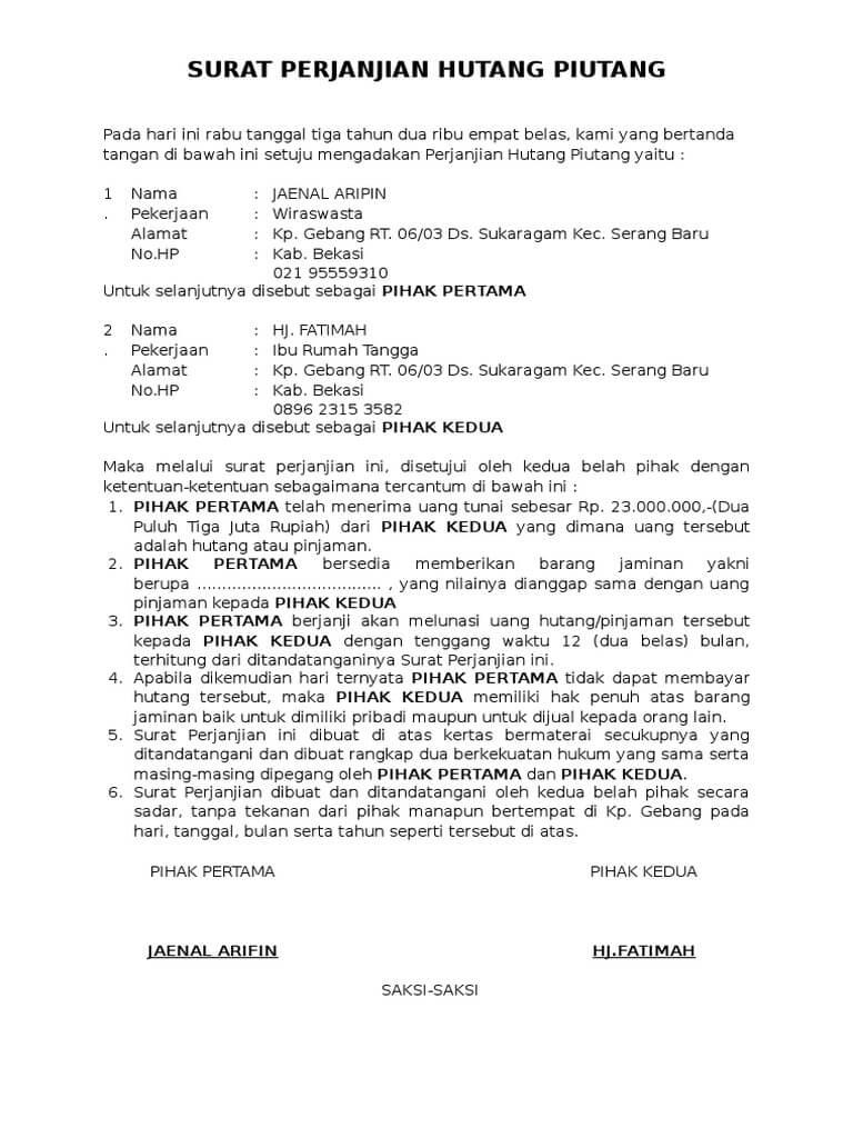 10 Contoh Surat Perjanjian Hutang Piutang