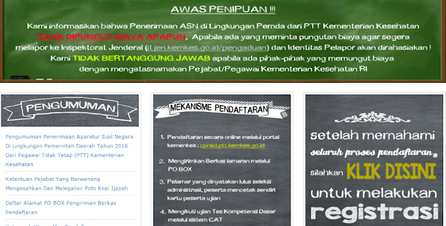Registrasi Online Bidan PTT Tahun 2016 Website cpnsd.ptt.kemkes.go.id