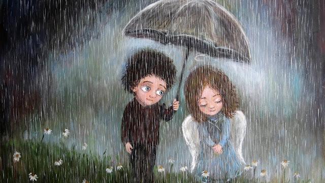amore, pioggia, ombrello,