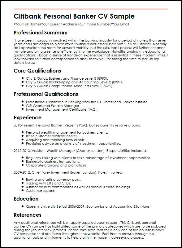 Personal Banker Resumes Free Resume Templates Investment Banking Cover Letter